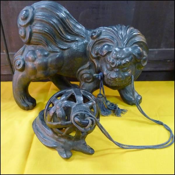 古銅 獅子 置物
