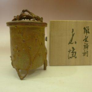 茶道具 高岡銅器 梅樹三脚香炉