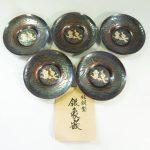 皆川堂 純銅製 茶托 銀象嵌 梅紋 茶道具