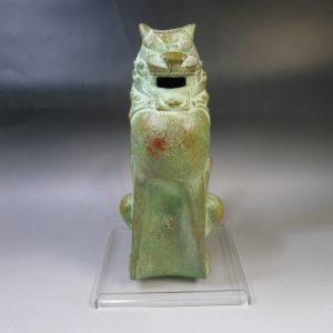 銅製 獅子香炉 日展彫刻家 三枝惣太郎